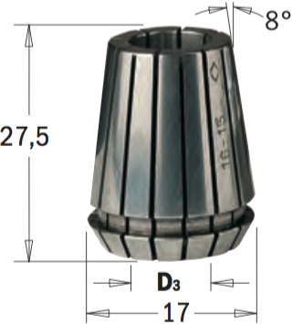 ER16 D=9 цанга высокоточная