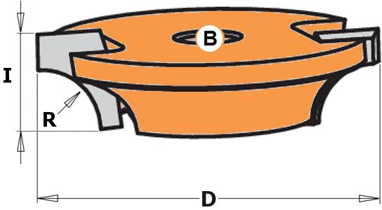 Фреза пазовая (диск) радиусная R8 Z2 D=44x12,7 F=8 для 955.806.11