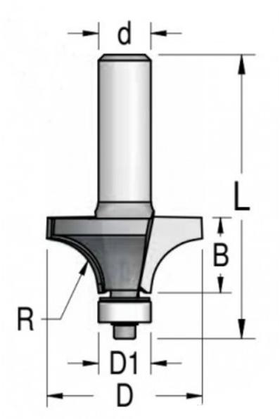 Фреза радиусная с нижним подшипником R4.8