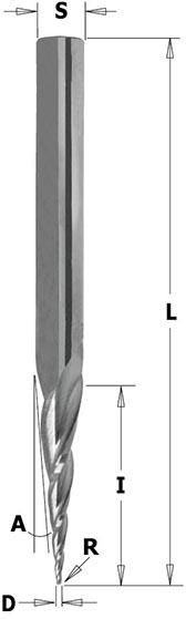 Фреза спиральная конусная для 3D фрезерования L=70 R=1,6 Z=3 S=6 RH