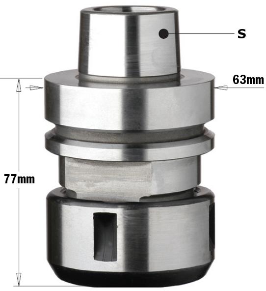 Патрон высокоточный без подшипника для цанги DIN6388 S=HSK-F63 RH