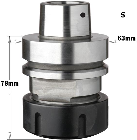 Патрон высокоточный для цанги ER40 S=HSK-F63 RH
