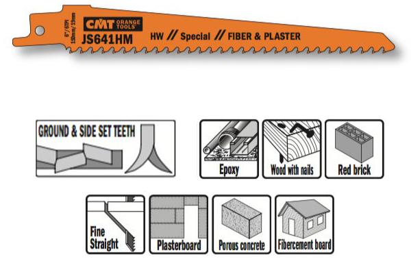 Пилка сабельная (HM) 2 штуки для строительных работ  150x19x1.25 6TPI