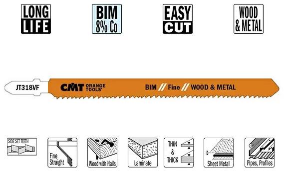 Пилки лобзиковые (BIM) 5 штук для дерева и металла 132x1.7-2.6x10-15TPI