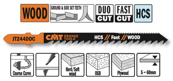Пилки лобзиковые  (HCS) 5 штук для древесины (2-х сторонний рез) 100x4-5.2x6TPI
