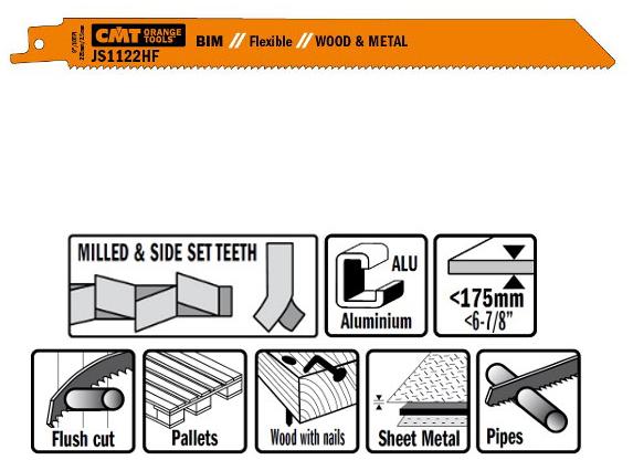 Пилки сабельные 20 штук  для  дерева и металла(BIM) 225x2,5x10TPI