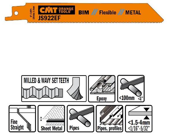 Пилки сабельные 20 штук  для  металла (BIM) 150x1,4x18TPI
