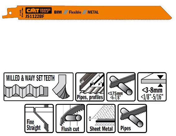Пилки сабельные 20 штук  для  металла (BIM) 225x1,8x14TPI