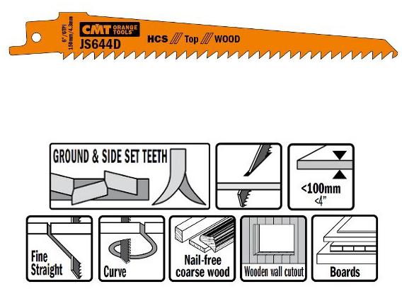 Пилки сабельные 5 штук  для  дерева  (HCS) 150x4,3x6TPI