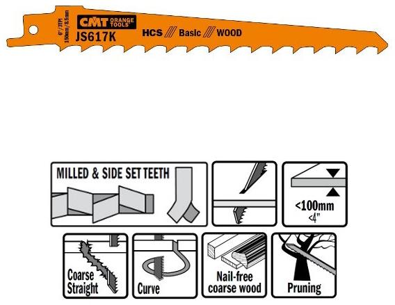 Пилки сабельные 5 штук  для  дерева  (HCS) 150x8,5x3TPI