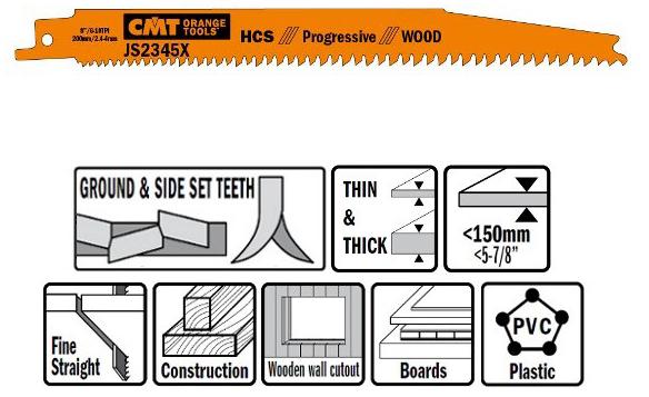 Пилки сабельные 5 штук  для  дерева  (HCS) 200x2,4-4x6-10TPI