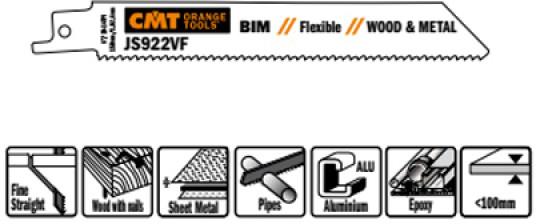 Пилки сабельные 5 штук  для  дерева и металла(BIM) 150x1,8-2,6x10-14TPI