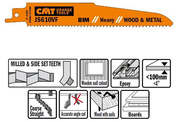 Пилки сабельные 5 штук  для  дерева и металла(BIM) 150x3,2-5x5-8TPI