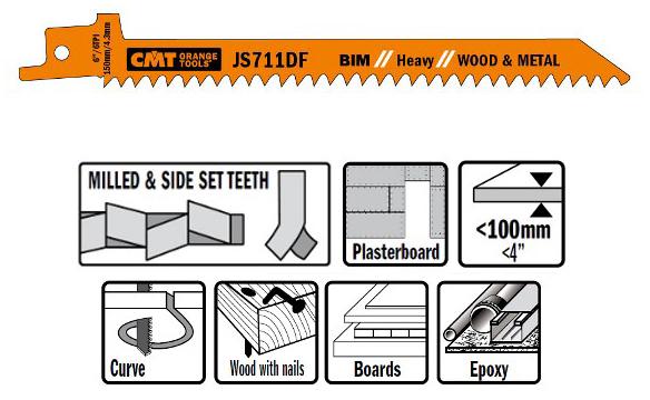 Пилки сабельные 5 штук  для  дерева и металла(BIM) 150x4,3x6TPI