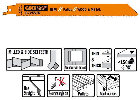 Пилки сабельные 5 штук  для  дерева и металла(BIM) 200x2,1-3,2x8-12TPI