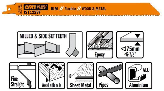 Пилки сабельные 5 штук  для  дерева и металла(BIM) 225x2,5x10TPI