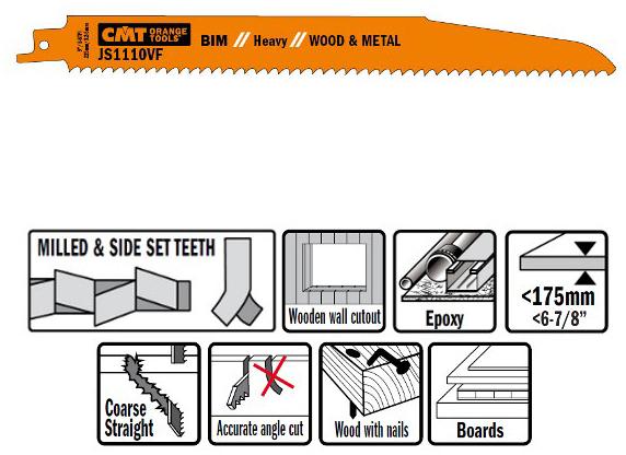 Пилки сабельные 5 штук  для  дерева и металла(BIM) 225x3,2-5x5-8TPI