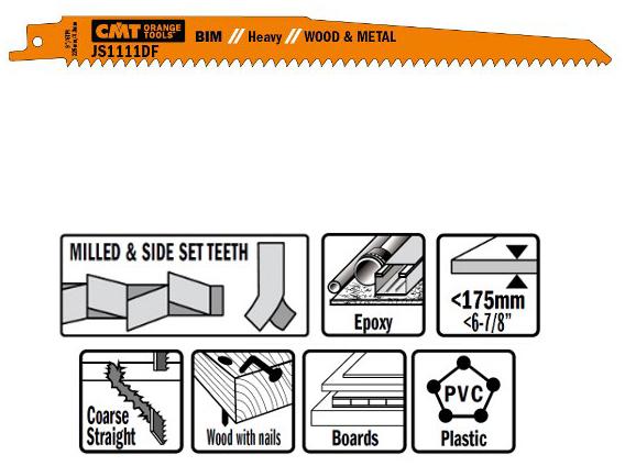 Пилки сабельные 5 штук  для  дерева и металла(BIM) 225x4,3x6TPI
