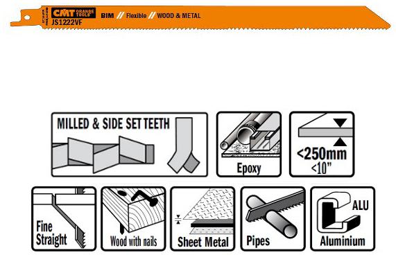 Пилки сабельные 5 штук  для  дерева и металла(BIM) 300x1,8-2,6x10-14TPI