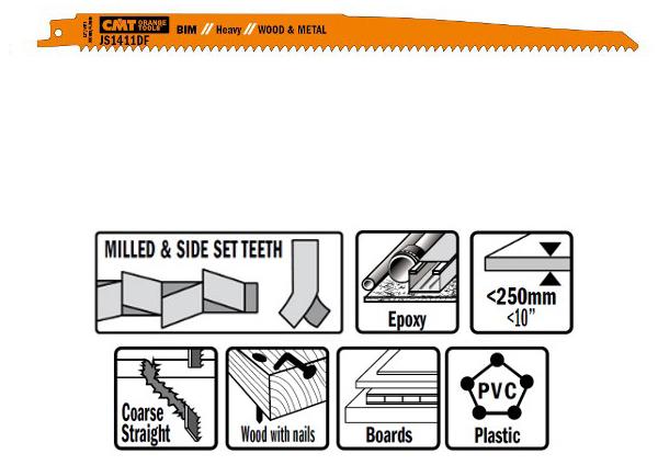 Пилки сабельные 5 штук  для  дерева и металла(BIM) 300x4,3x6TPI