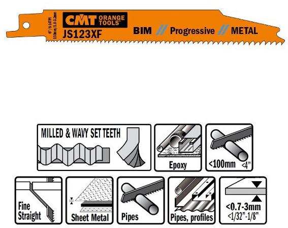 Пилки сабельные 5 штук  для  металла (BIM) 150x1,8-3,2x8-14TPI