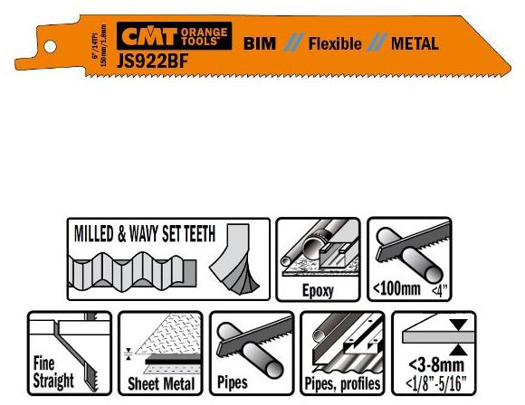 Пилки сабельные 5 штук  для  металла (BIM) 150x1,8x14TPI