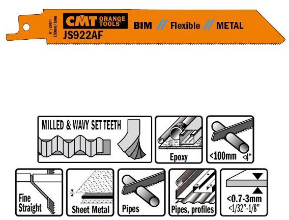 Пилки сабельные 5 штук  для  металла (BIM) 150x1x24TPI