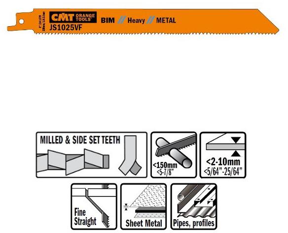 Пилки сабельные 5 штук  для  металла (BIM) 200x1,8-2,6-14TPI