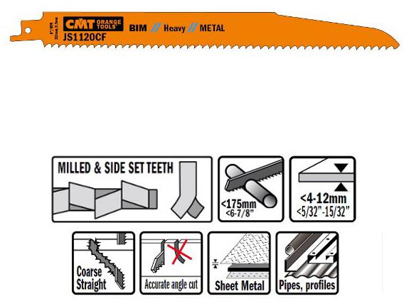 Пилки сабельные 5 штук  для  металла (BIM) 225x2,9x9TPI