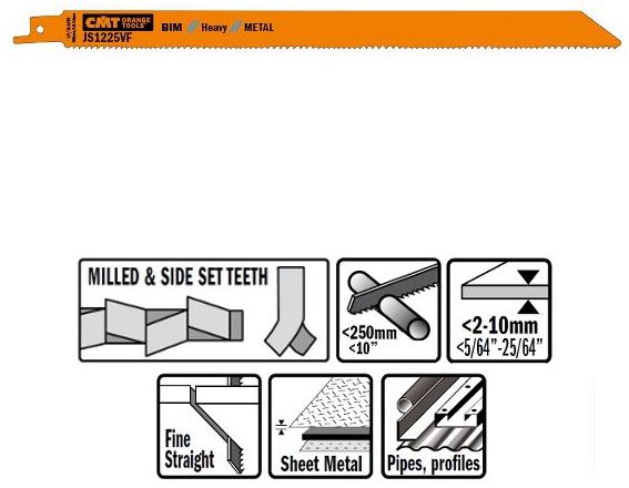Пилки сабельные 5 штук  для  металла (BIM) 300x1,8-2,6x10-14TPI