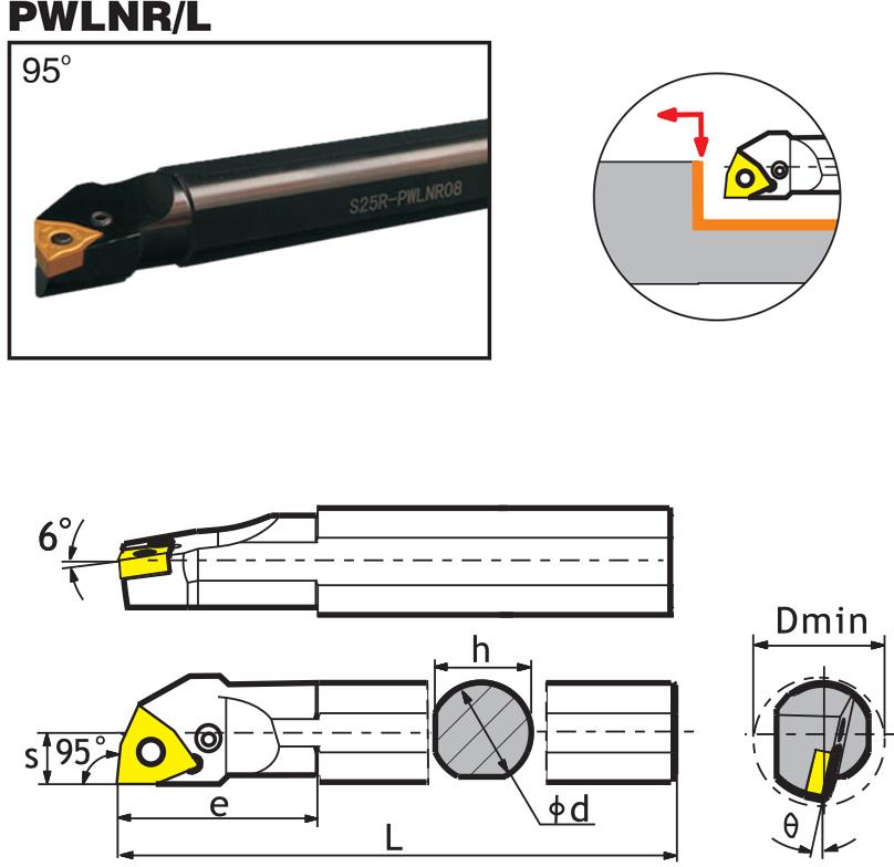Резец со сменными пластинами (державка) для внутренней расточки Ø16 мм