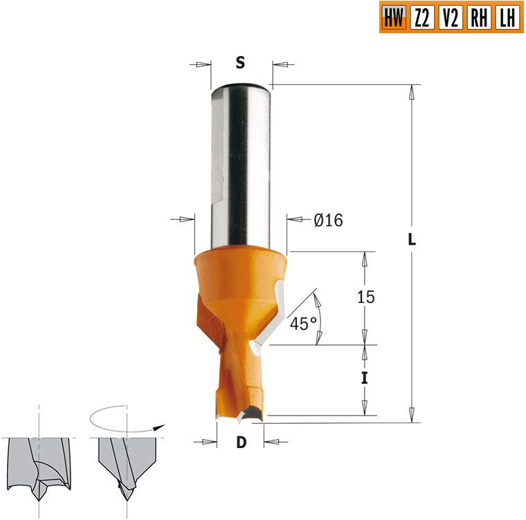 Сверло HW для присадочного станка 10x15x57,5 Z=2+2 S=10x25 LH