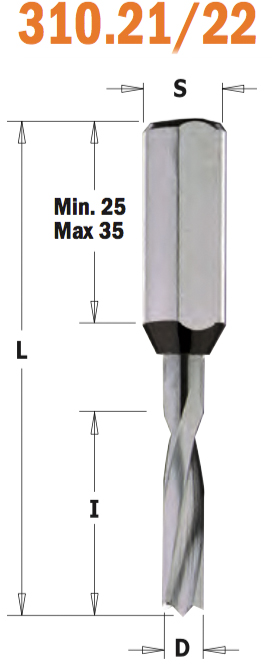 Сверло HW для присадочного станка 10x22x57,5 Z=2+2 S=10x27 RH