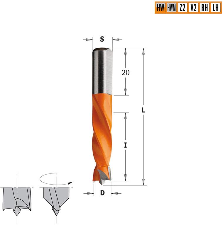 Сверло HW для присадочного станка 12x30x57,5 Z=2+2 S=10x20 RH