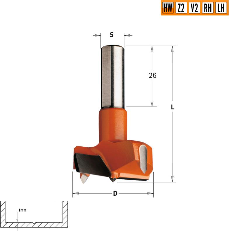 Сверло HW для присадочного станка 24x57,5 Z=2+2 S=10x26 LH