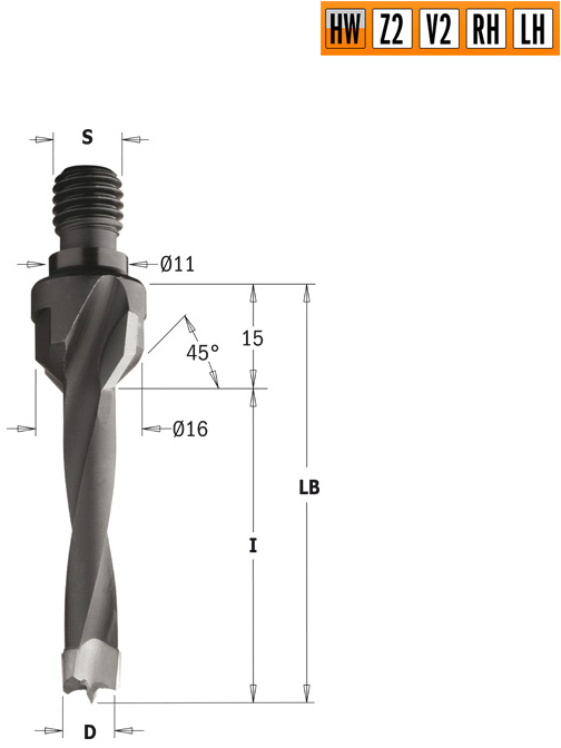 Сверло HW для присадочного станка 5x20x Z=2+2 S=M10/11x4 RH
