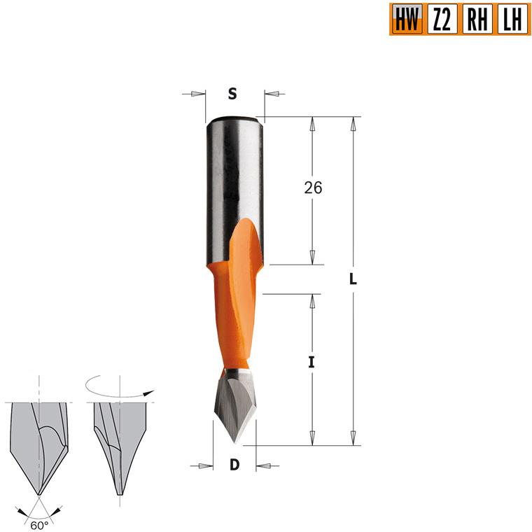 Сверло HW для присадочного станка 5x27x57,5 Z=2 S=10x26 RH