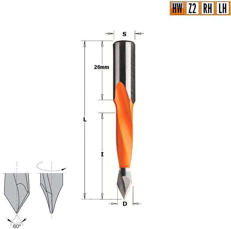 Сверло HW для присадочного станка 6,35x35x70 Z=2 S=10x26 LH