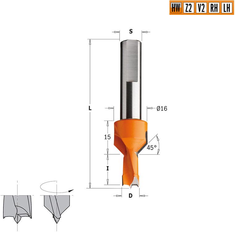 Сверло HW для присадочного станка 8x20x70 Z=2+2 S=10x33 LH
