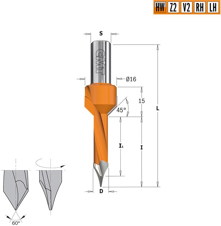 Сверло HW для присадочного станка 8x35x70 Z=2+2 S=10x20 LH