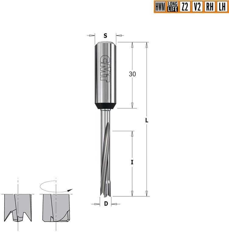 Сверло  HWM для присадочного станка  S=10x30 D=8x30x70 RH