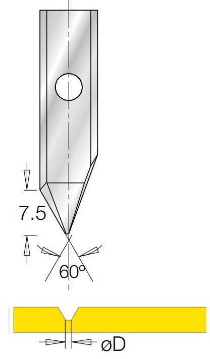 V-образная сменная пластина 60° B7,5 ØD=0,5 мм для фрезы G1853