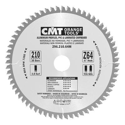 Пильный диск 210x30x2,8/2,2 Z64 a=-6 TCG (ламинат, цветные металлы, пластики)