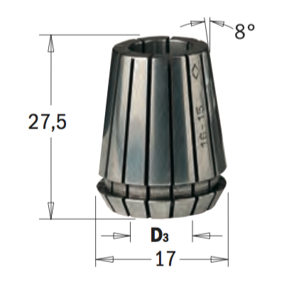ER16 D=3 цанга высокоточная