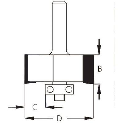 Фреза четверть 9,5 мм хвостовик 12 мм