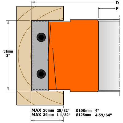 Фреза четвертная F=30 D=100x50 насадная (алюм.) смен.ножи HM (кейс)