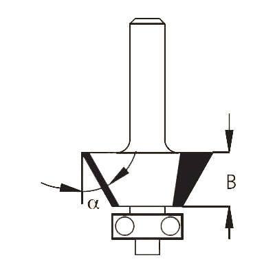 Фреза фаска угловая 45 гр. хвостовик 8 мм