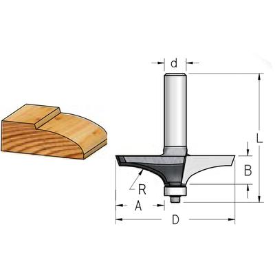 Фреза филенка радиусная D69,2 B16 хвостовик 12 мм