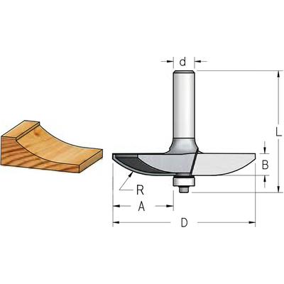 Фреза филенка радиусная D85,8 B12,7 хвостовик 12 мм