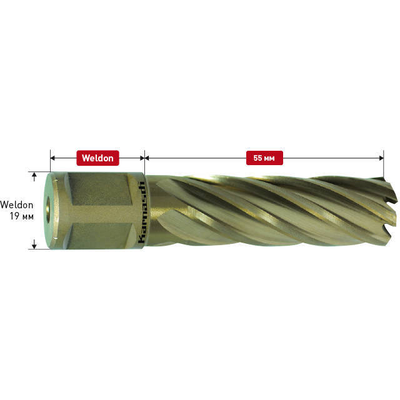 Фреза корончатая Gold-Line h=55 с хвостовиком Weldon-19, 13,0 мм